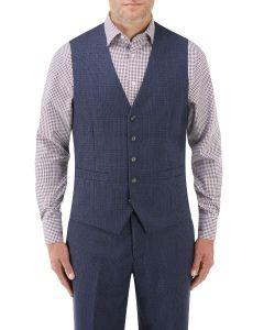 Callan Suit Waistcoat Blue / Purple Puppytooth