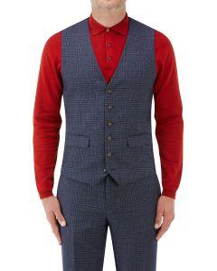 Woolf Suit Waistcoat Navy Check