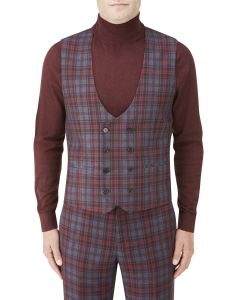 Garfield Suit DB Waistcoat Red Check