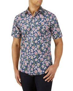 Navy Pink Floral Print Casual Shirt