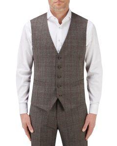 Havlin Suit Waistcoat Grey / Red Overcheck