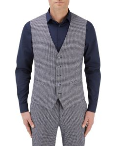 Keller Suit Waistcoat Navy Dogtooth