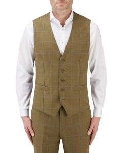 Bailey Suit Waistcoat Lovat with Blue Check