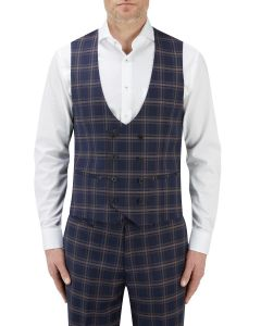 Seeger Suit DB Waistcoat Navy Check