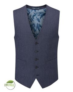 Gambino Suit Waistcoat Navy Birdseye