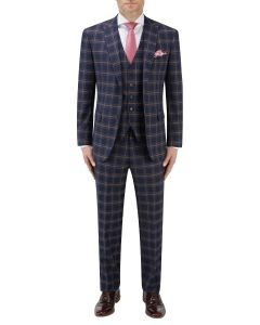 Seeger Tailored Suit Navy Check