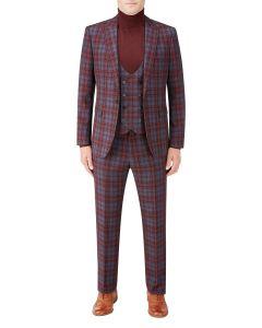 Garfield Slim Suit Red Check