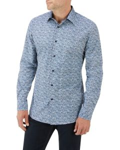 White / Navy Floral Print Casual Shirt