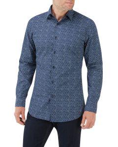 Navy / Blue Floral Print Casual Shirt