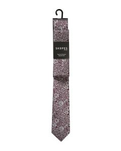Wine with Silver Flower Tie and Pocket Square