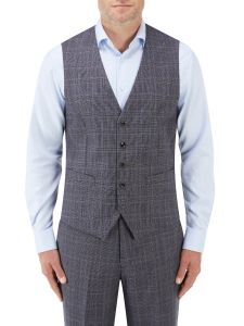 Crawford Suit Waistcoat Blue POW Check