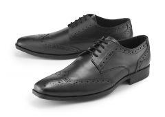 Black Lace-Up Brogue Shoes