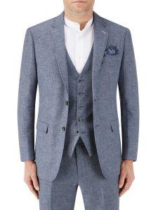 Lagasse Linen Blend Suit Jacket Navy