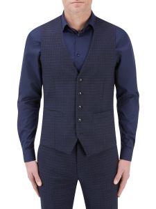 Dacre Suit Waistcoat Navy / Wine Check