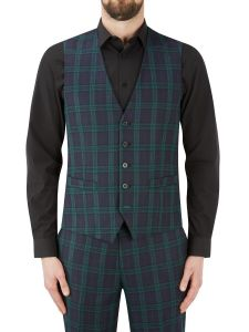 Ramsay Suit SB Waistcoat Charcoal / Green Check