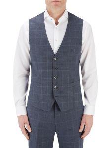 Anello Suit SB Waistcoat Blue Check