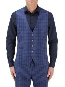 Tucci Suit Waistcoat Blue Check