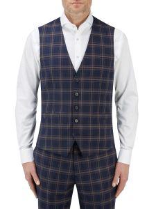 Seeger Suit SB Waistcoat Navy Check