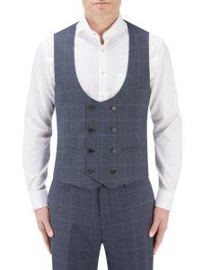 Anello Suit DB Waistcoat Blue Check