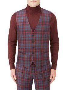 Garfield Suit SB Waistcoat Red Check