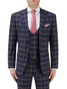 Seeger Slim Suit Jacket Navy Check