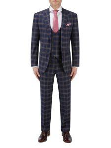 Seeger Slim Suit Navy Check