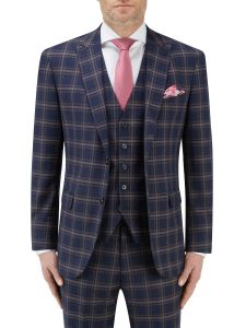 Seeger Tailored Suit Jacket Navy Check
