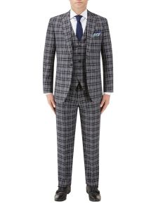 Kiefer Tailored Suit Black / Grey Check