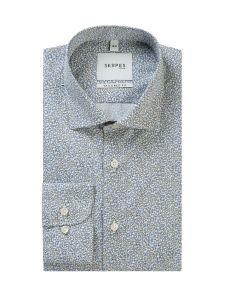 Premium White / Blue Ditsy Floral Formal Shirt
