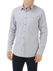 Ecru Navy Mini Check Casual Shirt