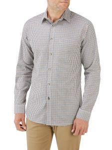 Blue Brown Mini Check Casual Shirt