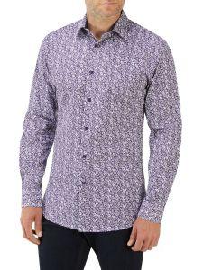 Burgundy Floral Print Casual Shirt