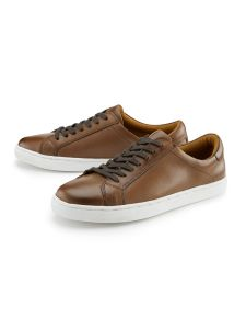Smart Leather Lace Up Trainers Brown