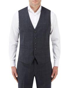 Momoa Suit Waistcoat Navy Check
