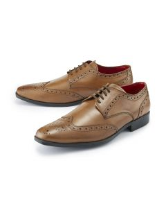 Tan Lace-Up Brogue Shoes