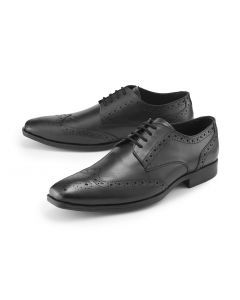 Black Lace-Up Brogue Shoes