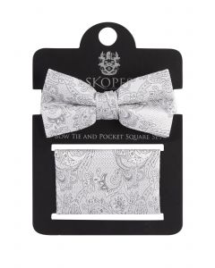 Silver Paisley Bow Tie And Pocket Square