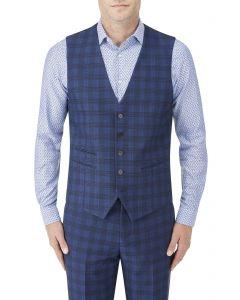 Felix Suit SB Waistcoat Blue Check