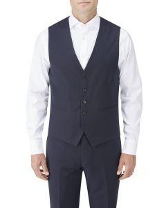 Nyborg Suit Waistcoat Navy Micro Check