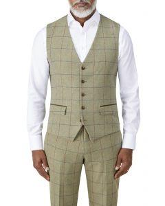 Arden Suit Waistcoat Sage Check