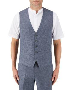 Lagasse Linen Blend Suit Waistcoat Navy