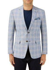 Cataldi Linen Blend Jacket Blue Check