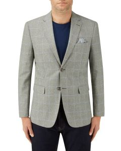 Lazarri Linen Blend Jacket Sage Blue Check