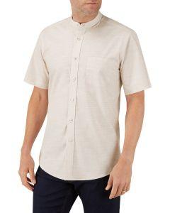 Stone Linen Look Casual Shirt