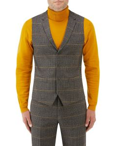 Leahy Suit Waistcoat Brown Check