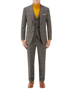 Leahy Tailored Suit Brown Check