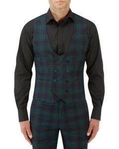 Sanchez Suit DB Waistcoat Navy / Green Check