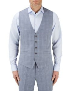 Silva Suit Waistcoat Ice Blue Check