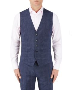 Torrente Check Suit Waistcoat Navy Check
