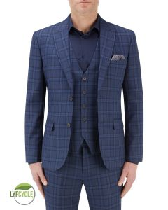 Angus Suit Slim Jacket Blue Check